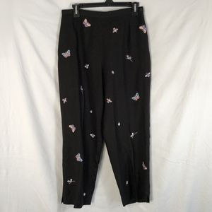 Coldwater Creek 10 Pants Linen Black Butterfly 644